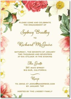 Floral Dreams - Signature White Engagement Party Invitations in Flint or Pearl | East Six Design