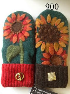 I LOVE the bold sunflowers on them! I also love how … Recycled Sweater mittens. I LOVE the bold sunflowers on them! Felt Crafts, Fabric Crafts, Sewing Crafts, Sewing Projects, Sweater Mittens, Wool Sweaters, Wool Felt, Felted Wool, Felted Scarf