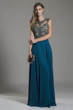 Vestido azul petroleo con dorado