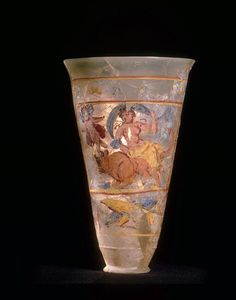 Incroyable Painted verre vessel from Begram, Afghanistan, depicting scenes from Greek everglades en floride. Ancient Rome, Ancient History, Art Romain, Objets Antiques, Art Through The Ages, Roman Sculpture, Art Asiatique, Roman History, Roman Art