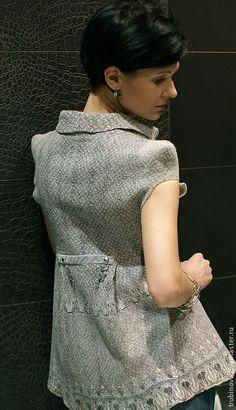 """Купить туника """"Амстердам"""" - серый, орнамент, туника, цельноваляная туника, платье, валяная одежда, войлок"""
