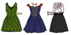 Earth's Mightiest Style Icons! - Avengers Inspired dresses by Fortunate in Deceit
