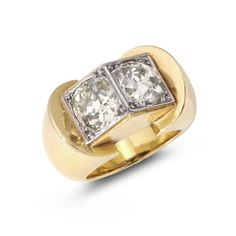 RENE BOIVIN. A YELLOW GOLD AND DIAMOND 'TOIT' RING, CIRCA 1940.