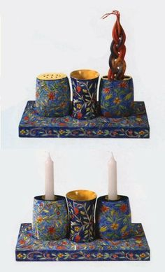 Multi Functional Shabbat & Havdalah Set by Yair Emanuel. $114.00. Multi Functional Shabbat and Havdalah set. The Shabbat set consists of 2 candlesticks, a Kiddush cup and a tray. When the 2 candlesticks are overturned they become a Havdallah candle holder and a spice box. The set is completely hand painted and then lacquered with multiple layers which makes it safe to drink from and hand washable with water. Comes in an elegant gift box, by Yair Emanuel. Overall measuremen...