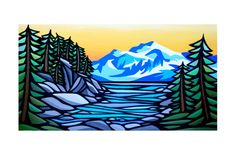 original art matted PRINT- 'Mountain View Cove'- West Coast Artwork