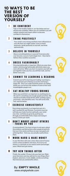 How to improve your life instantly. - How to improve your life instantly. 10 Ways to Become the Best Version Of Yourself And Be Your Best You – Empty Whole Motivation, Mental Training, Aunty Acid, Self Care Activities, Self Improvement Tips, Self Care Routine, Coping Skills, Healthy Mind, How To Be Healthy