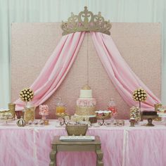 Royal pink and gold princess baby shower party! See more party planning ideas at CatchMyParty.com!