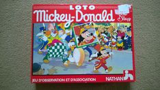 """Vintage Walt Disney Jumbo Loto Game """"Mickey and Donald"""" by Nathan Instuctions in English, French, Italian, German and Dutch by ThePemburyEmporium on Etsy Mickey Mouse Cups, Mickey Mouse Donald Duck, Vintage Mickey Mouse, Vintage Disney, Disney Mickey Mouse, Walt Disney Games, Donald Duck Characters, Disney World Parks, Price Sticker"""