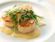 Seared scallops with beurre blanc sauce