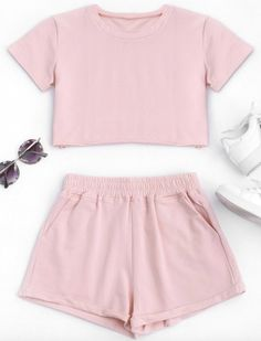 Cotton Sports Cropped Top and Shorts Suit A site with wide selection of trendy fashion style women's clothing, especially swimwear in all kinds which costs at an affordable price. Pajama Outfits, Crop Top Outfits, Crop Top And Shorts, Short Outfits, Casual Outfits, Pink Shorts, Cute Lazy Outfits, Outfits For Teens, Girl Outfits