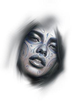 Skull Face Tattoo, Girl Face Tattoo, Girl Face Drawing, Chicanas Tattoo, Tattoo Drawings, Girl Skull, Sugar Skull Art, Chicano Art, Boro
