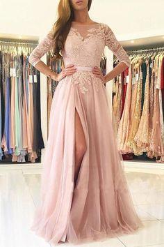 Prom Dresses Long, Backless Prom Dress, Long Sleeves Prom Dress, Pink Party Dress, Long Prom Dress, A-Line Party Dress #Prom #Dresses #Long #ALine #Party #Dress #Sleeves #Backless #Pink
