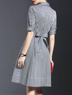 Black Half Sleeve Swing Shirt Dress