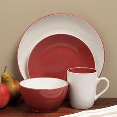 @Overstock - Sofia Red/ White 16-piece Dinnerware Set - This contemporary Sofia & This elegant and stylish orange and white dinnerware set features a ...