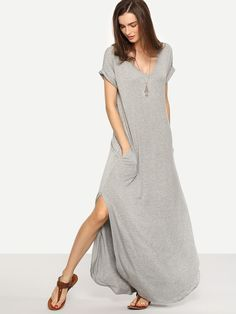 45d7cde1c5 Light Grey V-Neck Rolled Cuff Side Pocket Curved Slit Hem Maxi Dress