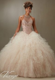 Quinceanera Dress Vizcaya Morilee 89070 Jeweled beading on a ruffled tulle ball gown Colors:Champagne/blush