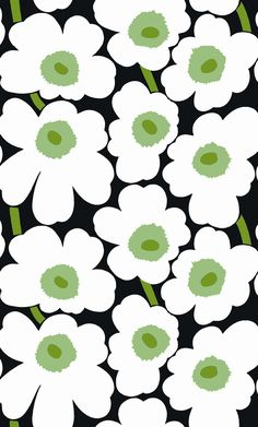 The Unikko cotton sateen fabric in black with white flowers is designed by Maija Isola for Marimekko. Suits perfect as a wall candy art, table cloth or curtains. Motifs Textiles, Textile Patterns, Print Patterns, Floral Patterns, Design Textile, Fabric Design, Pattern Design, Marimekko Fabric, Marimekko Wallpaper