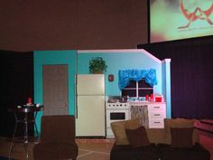 SilverPointProductions.com - Stage set Design and constructions Kitchen and door.