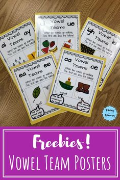 Vowel Team posters include: ai ay ea ee igh ie oa oe ui and ue. Use these posters to help students read words with vowel teams. First Grade Phonics, Teaching First Grade, Teaching Reading, Learning, Phonics Rules, Phonics Words, Jolly Phonics, Vowel Activities, Subtraction Activities