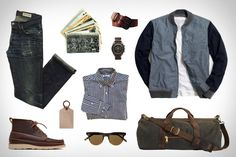 Garb: Write Away  Gustin Navy Baby Gingham Shirt ($76). Gustin Japan Denim Jeans ($89). Gustin Black Roller Belt ($51). Gustin Duffle Bag ($127). Oak Street Bootmakers Camp Boot ($348). J.Crew Wallace & Barnes Bomber Jacket ($188). Corter Leather Luggage Tag ($18). Garrett Leight California Optical Sunglasses ($315). ($249). Omega SS Speedmaster Watch ($5,850). Vintage New York City Postcards ($20).