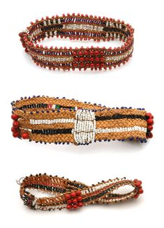 Africa | Bracelets from the Sotho people, Mafuba region, Lesotho | 20th century | Fiber, seeds and glass beads