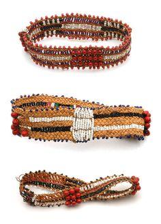 Africa | Bracelets from the Sotho people, Mafuba region, Lesotho | 20th century | Fiber, seeds and glass beads