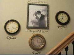 Hang your wedding photo and then for ea child stop a clock on the time they were born ♡