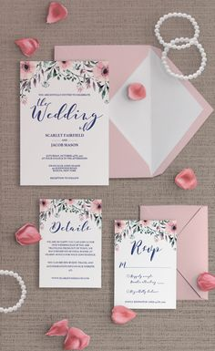 This watercolor wedding invitation suite is the perfect set for a spring or floral wedding. The pink watercolor flowers give your wedding a romantic touch and the invitations will ensure you celebrate your special day with all your loved ones. Be prepared to receive a lot of compliments! Get 15% off by signing up for our newsletter at www.papersizzle.com