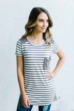 Mocha Sugar and Stripes Tee - Obsessions Boutique