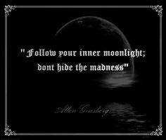 Follow your inner moonlight; don't hide the madness. -- Allen Ginsberg