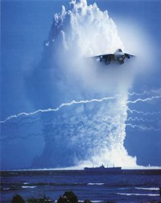 Time Warp! Jet flies through Atomic Bomb Blast (Interesting photoshop juxtaposition of time and space)
