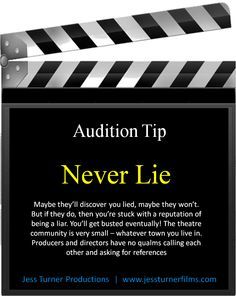 Even though it's a slate board (which we don't use in theatre) it pertains well to any audition. Acting Quotes, Acting Tips, Singing Lessons, Singing Tips, Acting Lessons, Acting Skills, Art Lessons, Voice Acting, Acting Career