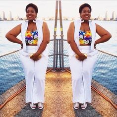 My boo @fabulouslyfat2fit in a @lanebryant suit , she added a pop of colour with a @bygrisel top for #fullfiguredfashionweek #curvesatsea allwhitecruise #fffweek2014 #fffweekfinale #bbbg