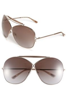 Tom Ford Catherine large metal aviator sunglasses in shiny bronze/gradient brown $495