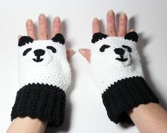 Panda fingerless mittens animal fingerless gloves by MsAmandaJayne, $35.00