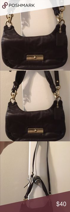 Coach Purse, brown with light purple lining Coach purse, classic, brown leather with purple/lavender lining with removable long strap for two carrying length options! Coach Other