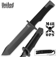 M48 Ops Combat Fighter Knife for sale is ideal for military operations and tactical use.  It is 16 inches in all. This powerful, full tang knife features a sharp tanto style blade that is 420A stainless steel with a titanium electroplated finish. They have a reinforced impact resistant, grooved handle and a reinforced MOLLE sheath making these a popular choice for military personnel. These knives have a sharpened, double-serrated backside which acts like a functional saw.