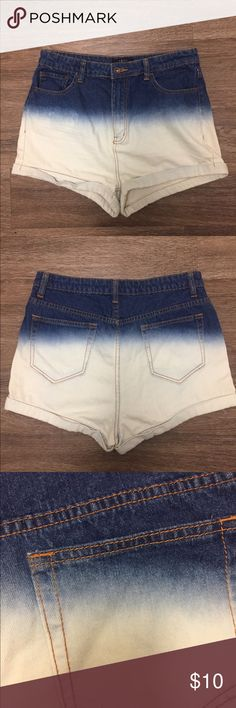 Forever 21 Ombré Shorts💕 These shorts from Forever 21 are a thin jean material and are high waisted. Ombre goes from a blue jean to white jean. Forever 21 Shorts Jean Shorts