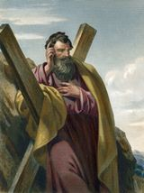 Engraving depicting the Apostle Andrew standing by an X-shaped crucifix.