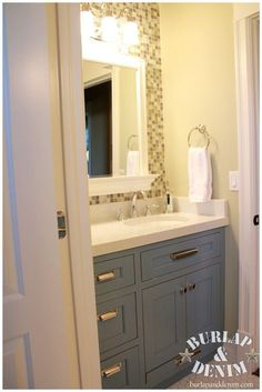 Pottery Barn Styled Children's Bath with glass and vintage styled tiles