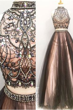 Pink Lining Handmade Beaded Two Pieces Prom Dresses,A-line Tulle Prom Gowns,Halter Beading Evening Dresses,Beautiful Party Dresses,Cute Dress