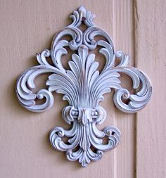 Large Pretty Upcycled Fleur De Lis Wall Hanging by DebsFunkyJunk, $24.00