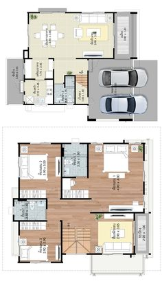 House design plans with 3 bedrooms - Home Ideassearch Home Design Floor Plans, Plan Design, House Floor Plans, Minimalist House Design, Minimalist Home, Small Bungalow, Duplex House Design, Small Room Design, Affordable Housing