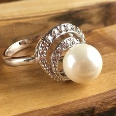 Pearl Solitiare White Sapphire Encrusted Ring R2512. Starting at $1