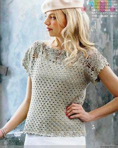 Crochetemoda: Blusa de Crochet Cinza