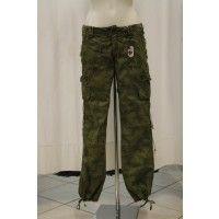 40 weft pantaloni donna verde mimetico scuro, con lacci sotto, 100% cotone