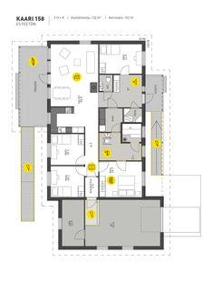 ainoakoti_kaari_esteettomat_mallit House Plans, Floor Plans, Layout, Flooring, How To Plan, Model, Ideas, Page Layout