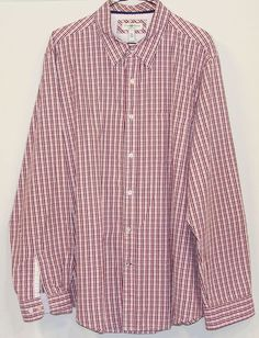 Club Room Slim Fit Mens Pink Plaid 100% Cotton Long Sleeve Button Down Shirt XXL #ClubRoom #ButtonFront