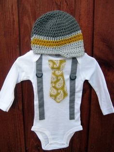 Get The Set  Yellow and Gray Boys Tie Onesie or by shopantsypants, $34.00