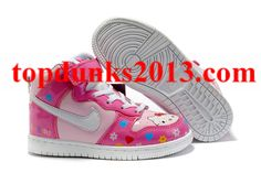 low priced 727cf b77c0 Online Sale Hello Kitty Pink Nike Dunk High Top Girls